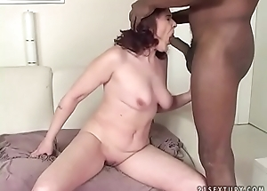 Big black meat in an old vagina