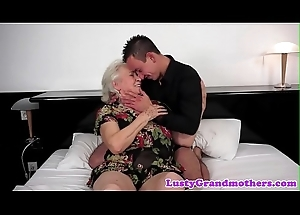 Chubby grandma titfucked with an increment of pussy banged