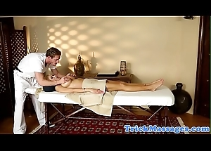 Busty rub-down babe engulfing her masseur
