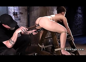 Slave tied up on ungainly ladder got anal