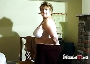 Lovely BBW Granny Helter-skelter Huge Tits Striptease With the addition of Masturbation