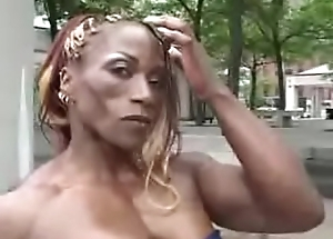 Ebony Bodybuilder Carrying-on On Bed