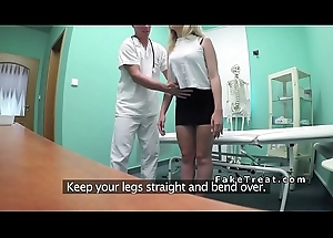 Euro doctor bangs shaved cum-hole blonde