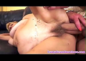 Saggy grandma gets her hairy pussy group-fucked