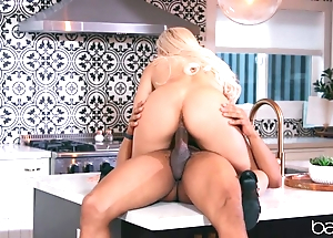 Sexy blonde anally rides lover's BBC connected with dramatize expunge larder