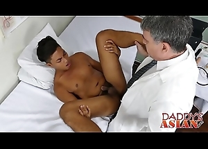 Handsome Asian twink gets his pest barebacked by horny doctor