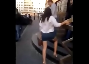 Drunk russian girl gets up be passed on miniskirt